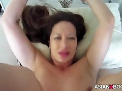 ASIAN BABE RIDES AND GETS CREAMPIED