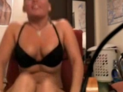 Busty College Blonde Rubs Pussy In Bra And Panties