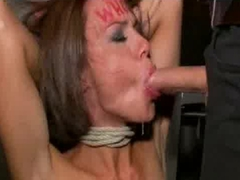 Huge tits tied up babe throat fucked in public bar
