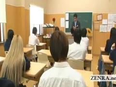 Busty invisible Japan schoolgirl teen naked in school