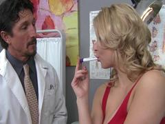 Hot big-tit blonde slut MILF patient fucks doctors dick in clinic