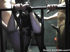 Amateur girl chained and gangbanged