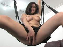 Busty brunette on a sex swing - Mavenhouse