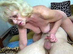 Chubby Granny fucking a man, granny likes dildo
