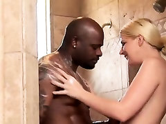 Amazing blonde bitch teases black guy under the shower