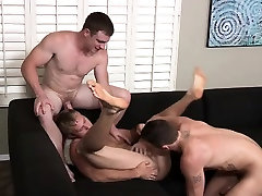 Hot Bareback threesome for that tight assholes