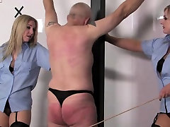 Police big tist glasses caning worthless prisoner