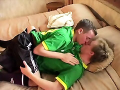 Sporty gay twinks fucking after soccer game