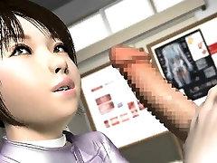 Horny 3D anime slut eats prick