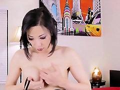Asian tgirl Bora Gin wanking in lingerie