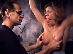 Big tits whore into bondage and gray old woboydy with an older guy