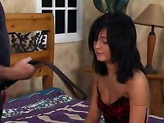Hot black hair babe gets a spanking in bedroom