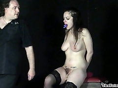 Cruel toys and painful orgasm of whipped amateur slavegirl