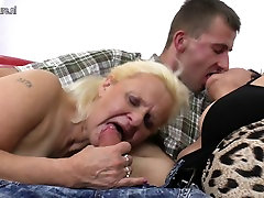 Lucky son fucks two grannies