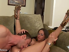 Brunette Rachel Roxx Big Fake Tits Bounce In ANAL Scene!