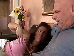 Hungry MILF with huge tits rides dude&039;s thick cock on the sofa