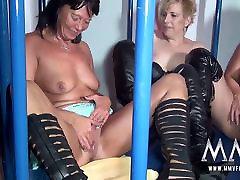 MMV FILMS Amateur German Teen and Mature Caged Lesbians