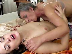 Hot babe fucks a very naughty mature lesbian