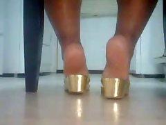 BBW Ebony Feet In Gold Sandals