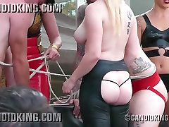 Busty big boobed blonde topless in public showing her boobs!