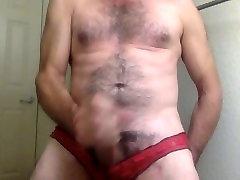 Stroking Huge Cock in Wife&039;s Red Panties