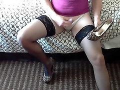 Slutty crossdresser orgasms on shoes