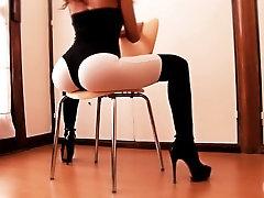 Round Ass Teen In High Heels BodySuit & Thong. Thigh Gap